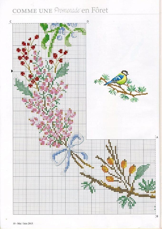 kuş ve çiçekli havlu şablon 1