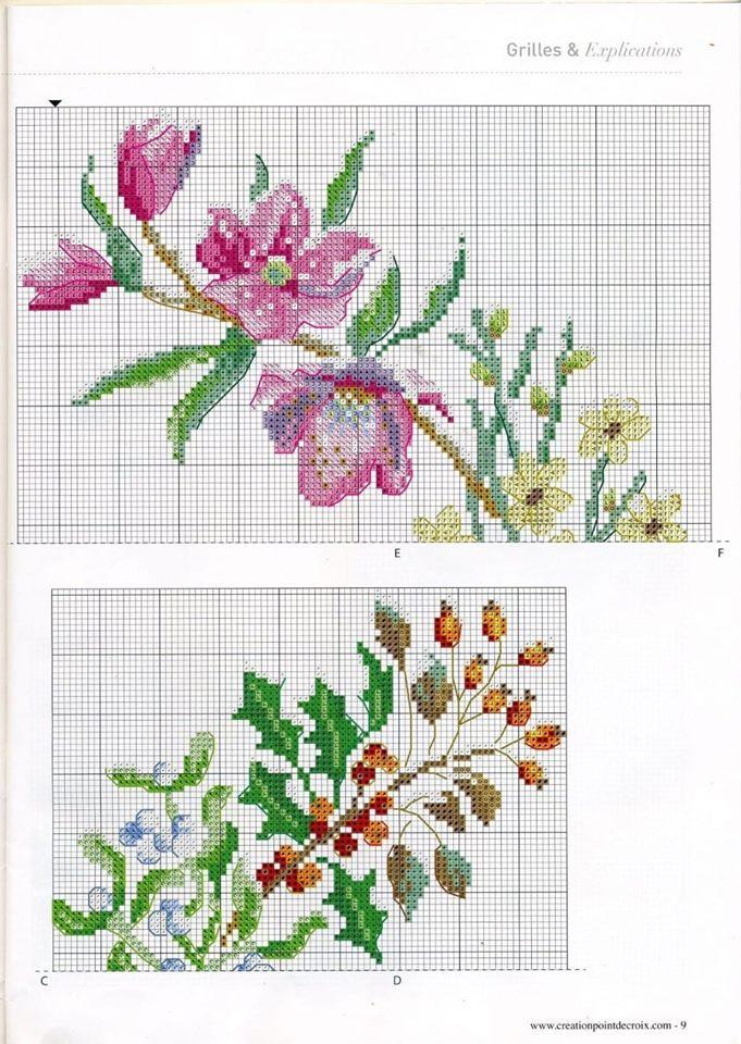 kuş ve çiçekli havlu şablon 2