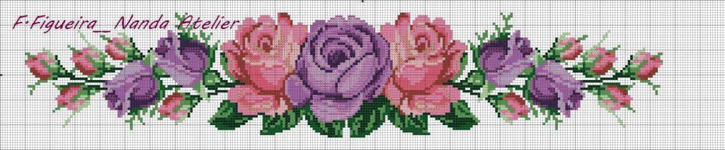 pink purple roses crossstitch pattern