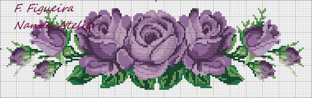 purple roses crossstitch pattern