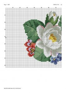 pink white roses crossstitch pattern 1