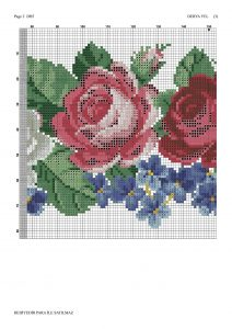 pink white roses crossstitch pattern 2