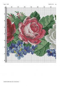 pink white roses crossstitch pattern 3