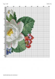 pink white roses crossstitch pattern 4