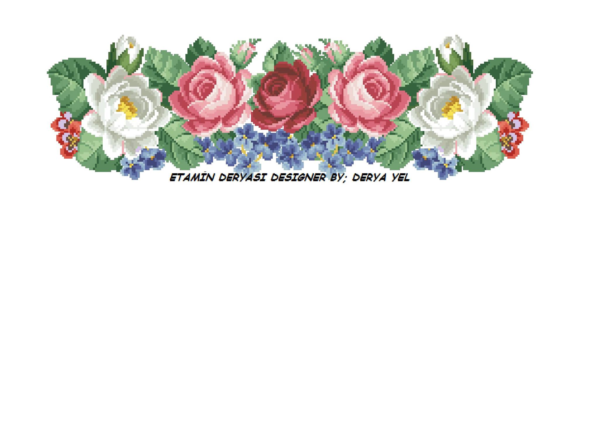 pink white roses crossstitch pattern
