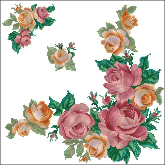 pink yellow roses crossstitch pattern