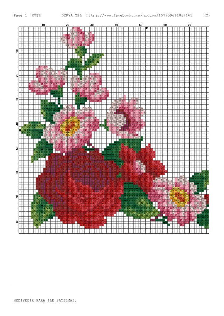 rose flowers corner crossstitch pattern-1