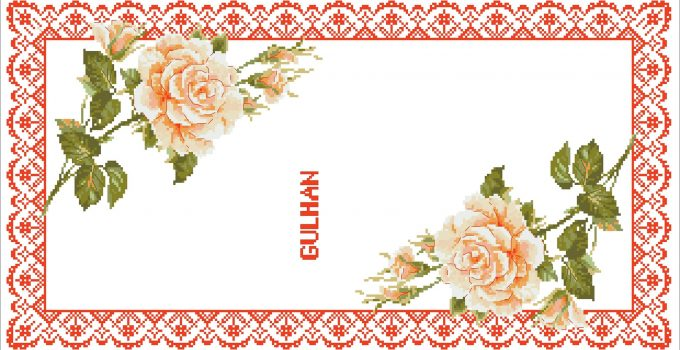 turuncu güller kanavice sablon
